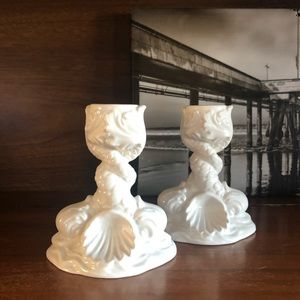 Vintage Italian White Ceramic Taper Candle Holders